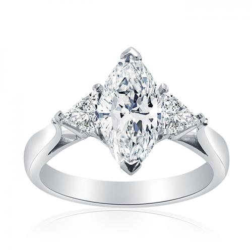 Marquise Diamond Engagement Ring with Trilliant Diamonds