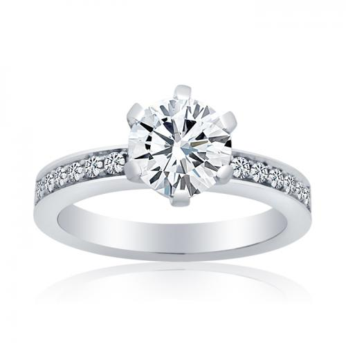 6 Claw Round Brilliant Diamond Ring With Micro Pave Set