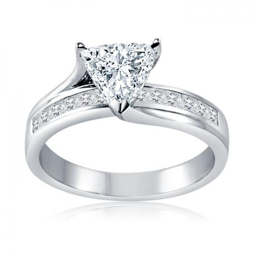 Trilliant Solitaire Diamond Ring With Channel Set Side Stones