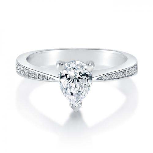 Pear Shape Diamond Engagement Ring with Sidestones