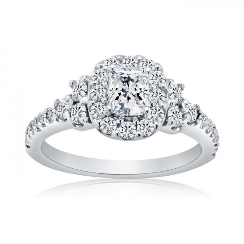 Cushion Cut Halo Set Diamond Engagement Ring With Side