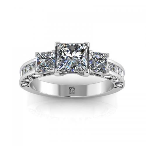 Princess Cut Solitaire Diamond Ring With Side Stones