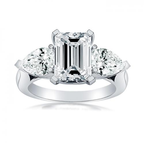Three Stone Emerald Cut Diamond Engagment Ring With Pear